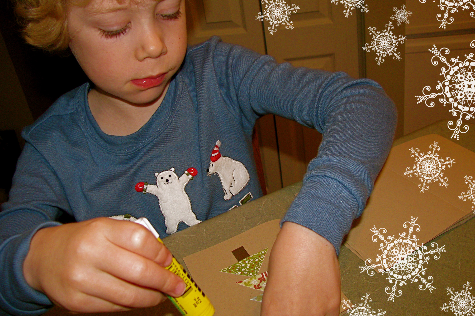 Sam Making Cards